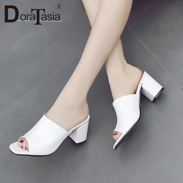 DoraTasia 2018 Summer Brand Cow Leather Women Mules Leather