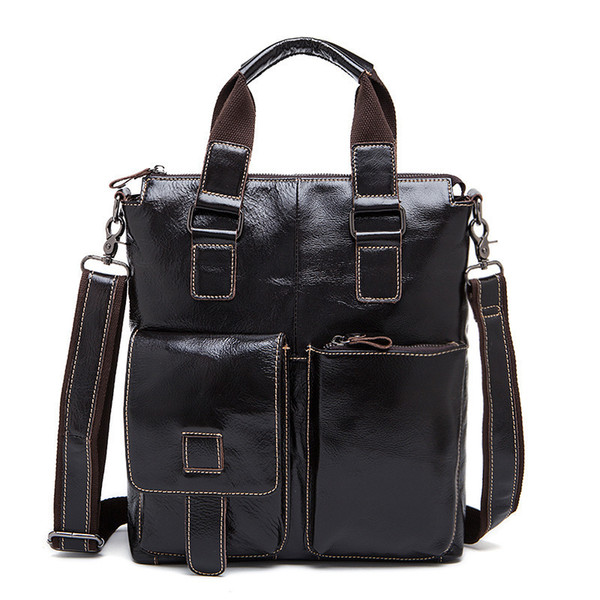 New Brand 2019 Genuine Leather Men Bag Briefcases Male Leather Business Ipad Bags Crossbody Bags Mens Messenger Shoulder Bag