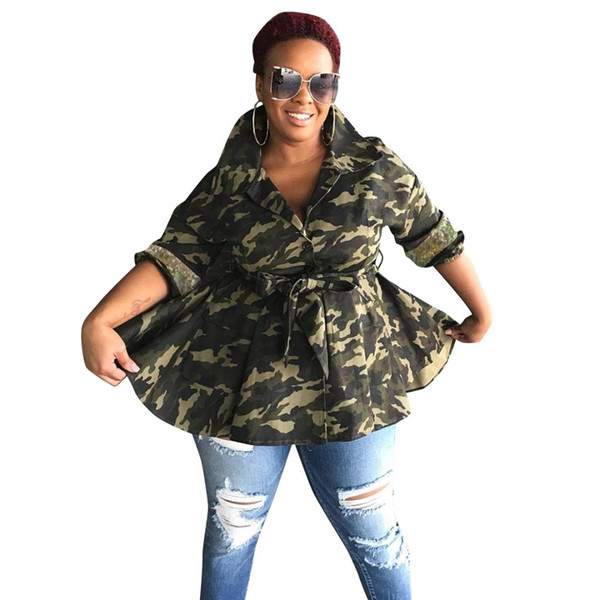 Trinchera casual para mujer Outwears chaqueta de camuflaje costura lentejuelas Big Swing cortaviento abrigos Fajas enchufe tamaño túnica