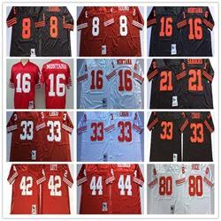 NCAA Alta Qualidade Homens jersey 16 Joe Montana Deion Lixadeiras 42 Ronnie Lott Branco Vermelho Preto Camisas de futebol frete grátis