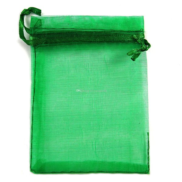 Hot Sales ! 100pcs LEAVE GREEN Drawstring Organza Gift packing Bags 7x9cm 9x12cm 10x15cm Wedding Party Christmas Favor Gift Bags