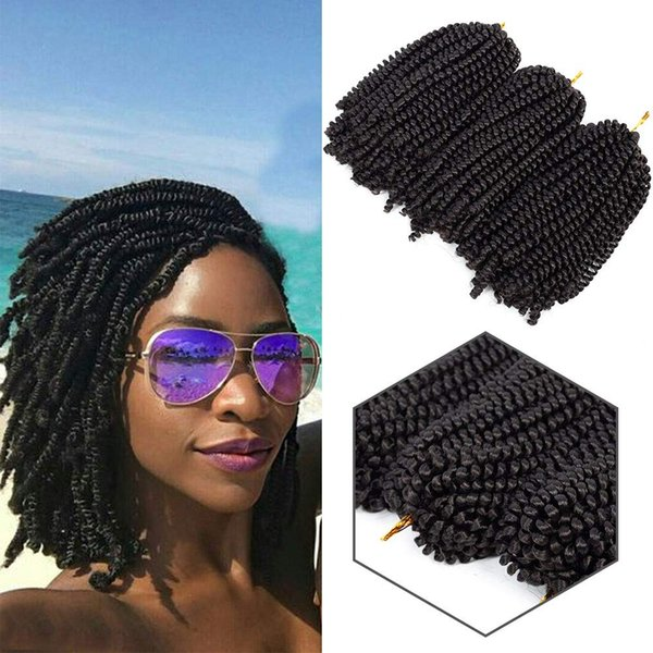 top popular New Style 8 Inch Spring Twist Crochet Hair Kinky Synthetic Braiding hair 1pack Crochet Braids Hair Extensions Synthetic spring twist braids 2020
