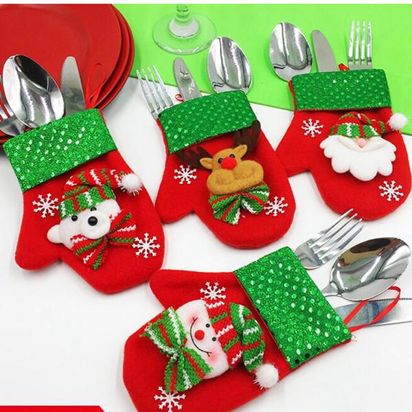 Christmas Tableware Glove Holder Dining Hall Cutlery Storage Pocket with Elk Snowman Santa Claus Bear Pattern Xmas Decoration