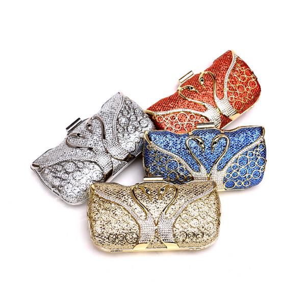 Animal de Metal Diamantes Mulheres Embreagens Lantejoulas Cadeia de Ombro Festa de Casamento Strass Sacos Oco Senhora Sacos de Noite
