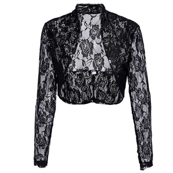 2019 Autumn Spring Female Jacket Ladies Long Sleeve Cropped Shrug Black Coat Fashion Lace Bolero Plus Size Womens Coats