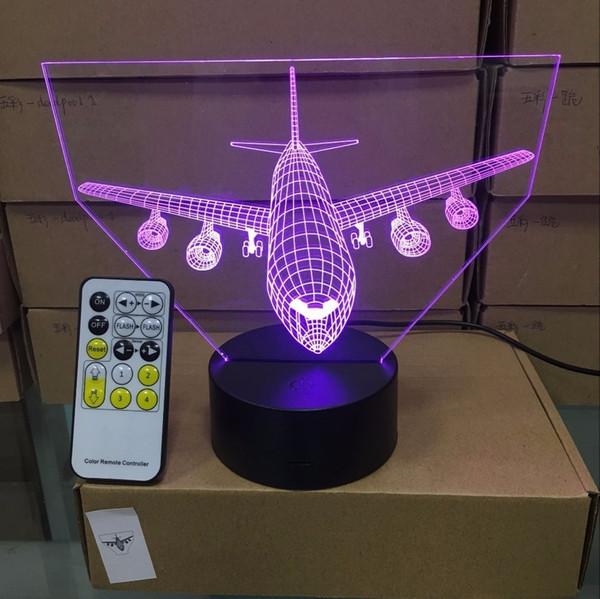 Télécommande Air Plan 3d Led Table Illusion Night Light 7 Couleurs Changement d'humeur 3aa Batterie Alimenté Usb Lampe Q190611