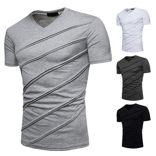 Großhandel Herren V-ausschnitt T-shirt Sommer Baumwolle Kurzarm Zurück Weiß Grau Feste Mode Lässig Bluse Tees Tops