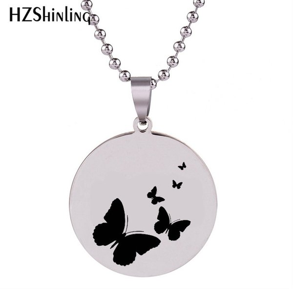 2019 New Butterfly Stainless Steel Pendant Silver Hand Craft Necklace Art Round Pendants Ball Chain Gifts For Men HZ7