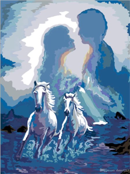 16x20 inches Two White Horses Running Together to Show Love DIY Paint By Numbers Kits On Canvas Art Acrylic Oil Painting