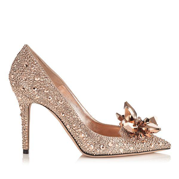 Scarpe da donna con punta a punta in cristallo oro rosa con tacco alto Scarpe da sposa con tacco alto in strass di design di lusso con strass. Scarpe con tacco a Cenerentola