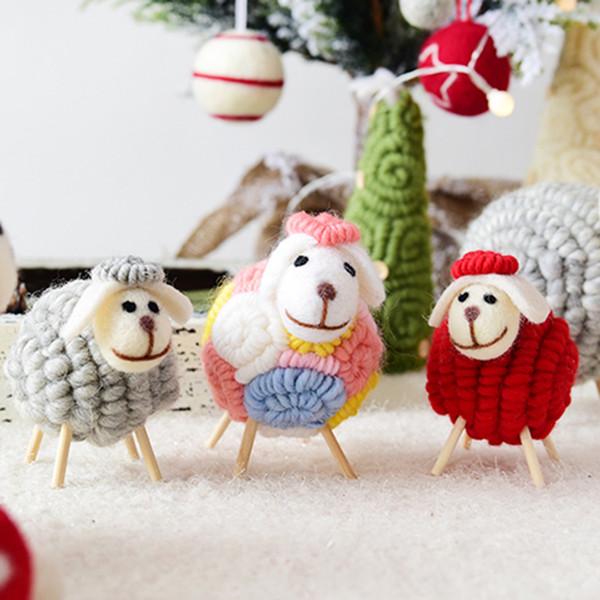 Christmas Party Wool Felt Sheep Doll Ornament Decor Mall Window Kids Xmas Gifts