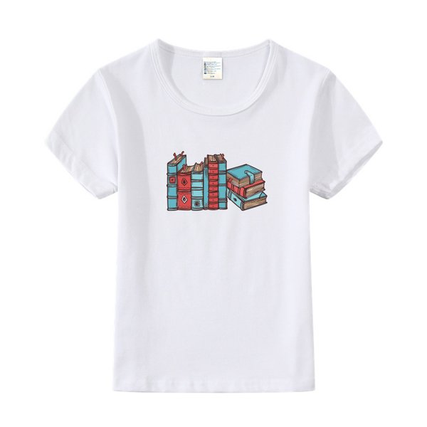 Retro Book Design Funny Print Children's T-Shirts Kids Summer Casual Clothes Toddler Tops Tees For Girls Boys Student T Shirts