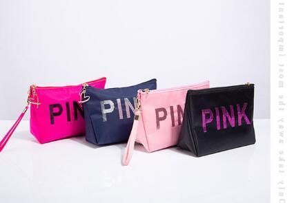 2019 Trousses de maquillage, trousse à maquillage Love Pinkbags, sac de voyage, lettre, hologramme, sequins Trousse à maquillage, trousses de maquillage de grande capacité