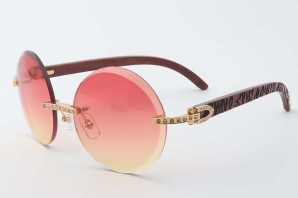 Nuevo estilo de pequeños diamantes completos gafas de sol lentes de recorte 3524012 redondas con templos de madera tigre natural, Tamaño: 56-18-135 mm