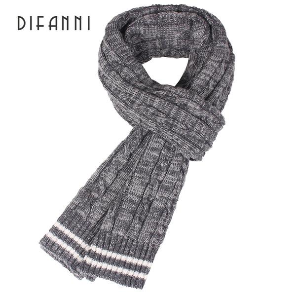 Difanni Winter Women Mens Warm Brand Winter Scarf Men Wool Plain Knitted Scarf Fashion Designer Shawl Bussiness Casual Scarves