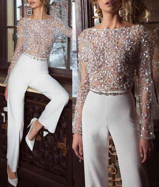 Women Sequins Embellished Mesh Long Sleeve Jumpsuit Elegant Long Transparent Slim Fit Romper Overalls Causal Club Party Tops Y19060501
