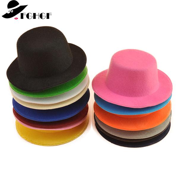 FGHGF 10 pz / lotto Mini Cappello a cilindro per bambini Fascinator Cappello da modisteria Base Uomo solido Donna Hen Party Dance Artigianato Copricapo