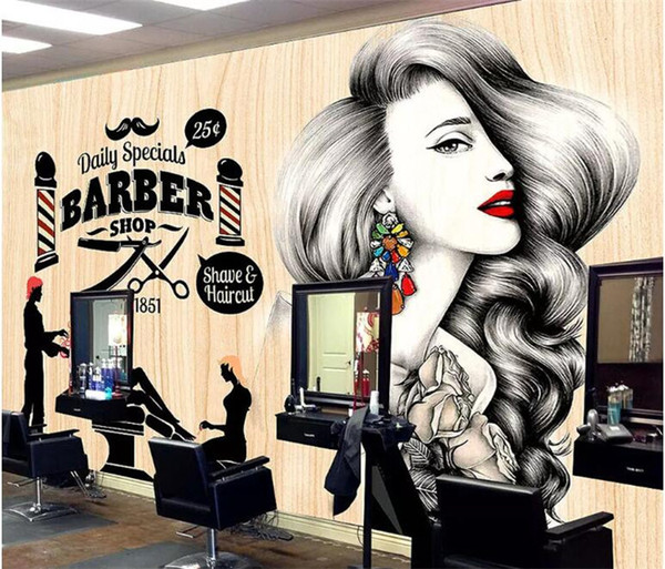 Custom Wallpaper Hairdressing Salon Hair Wall Barber Shop Vintage Makeup Hair Shop Decoration 3d Wallpaper Mural Music Wallpaper Naruto Wallpaper From