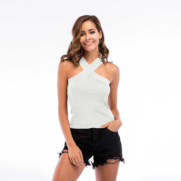 Women Vest Criss-Cross 2019 Summer Neck Starp Wrap Chest Sleeveless Pure Color Breathable Tank Top Polyester Size M-XL