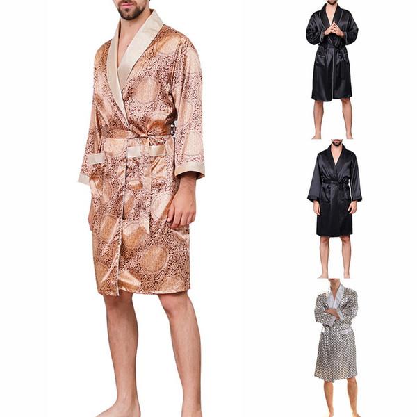 Drop shipping OEAK erkek Yaz Lüks Baskılı Pijama Uzun Kollu Ince Gecelik Yumuşak Saten Bornoz