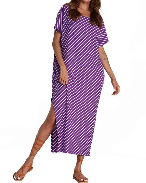 2019 mujeres del verano vestidos de rayas ZANZEA Casual suelta medio manga murciélago cuello redondo largo Bodycon Beach Split vestido de fiesta más tamaño