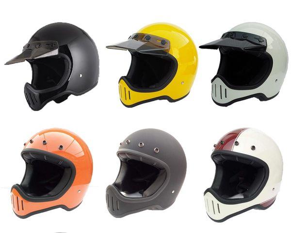 best selling DOT motorcycle vintage retro full face helmet for dirt dirt cross biker safe protective moto cross six color big vison bike bicycle helmet