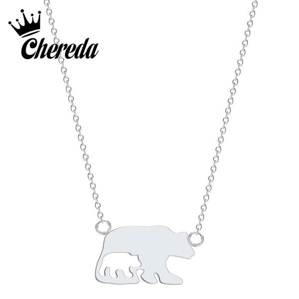 Chereda Cute Animal Edelstahl Halskette für Frauen Doubele Bär Kette Anhänger Mutter und Sohn Anweisung Schmuck Geschenk