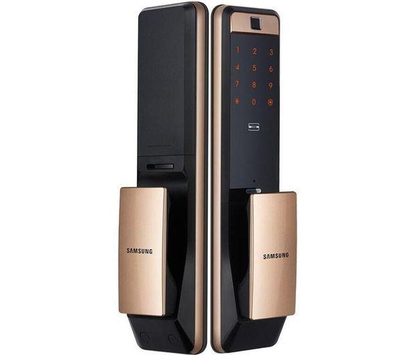 best selling 2020New SAMSUNG SHP-DP609 Keyless Fingerprint PUSH PULL Two Way Digital Door Lock English Version Big Mortise Gold Color