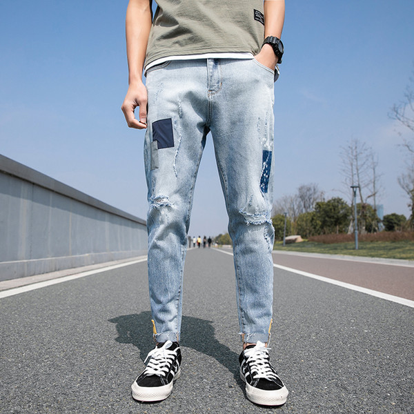 Spring New Jeans Men Fashion Wash Tearing Denim Pants Man Streetwear Hip Hop Loose Cowboy Trousers Trendy Wild Male Clothes
