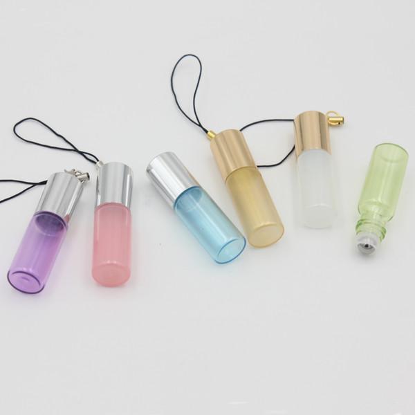 Mini 5 ml Cam Şişeler Üzerinde Rulo Inci Renk Koku Parfüm Uçucu Yağ Şişeleri Ile Paslanmaz Çelik Top Rulo