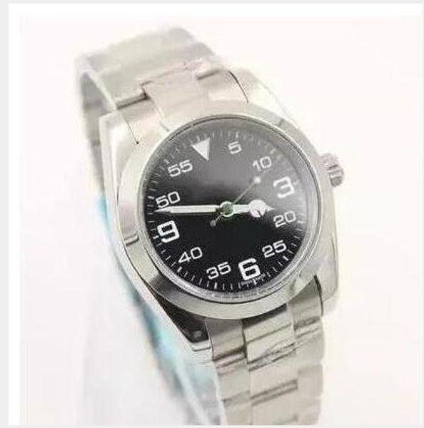 Aire Rey de lujo de acero inoxidable Cristal de zafiro Espejo automático de los hombres mecánicos del reloj para hombre Relojes de pulsera