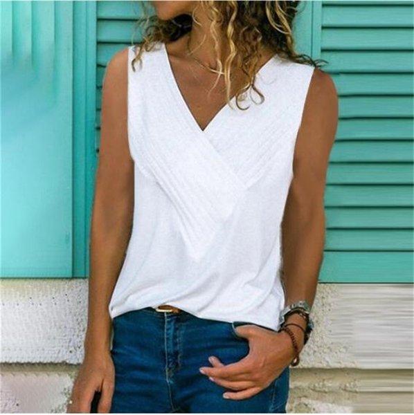 Tissu De Mode Femmes D'été Concepteur Court Tshirt Chaud Col En V Sans Manches Coloré Tshirt Femme Vêtements Camiseta