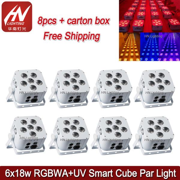 8 pcs bateria cubo luz par RGBWA UV 6 * 18 w casamentos uplighting alimentado por bateria sem fio DMX Led Par Light