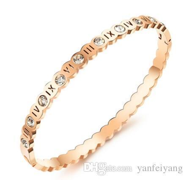 Bracelet rétro de qualité supérieure en or rose / argenté imprimé Roma de haute qualité pour femme sertie de zircon N818