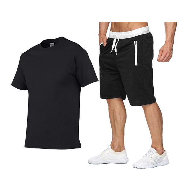 2019 New Solid color T Shirt Mens Shirts+Shorts Two Pieces 100% cotton T-shirts Summer Skateboard Tee Boy Skate Tshirt Tops