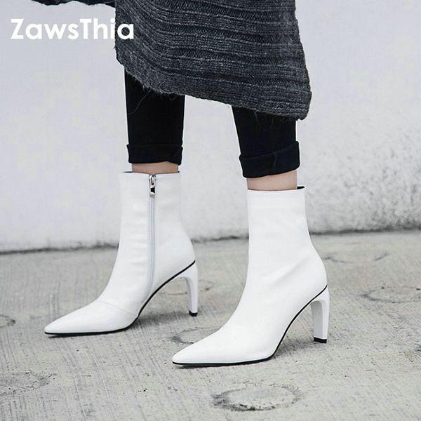 ZawsThia 2018 hiver automne cuir verni véritable bout point étrange bottes à talons hauts bottes blanches de la mode femmes cheville bottes bottillons