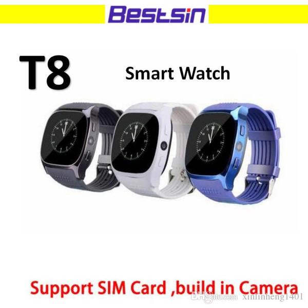 Dispositivi indossabili T8 Smart Watch LBS tracker Supporto per telecamere Bluetooth 3.0 Scheda SIM M26 Versione aggiornata Con scatola al dettaglio