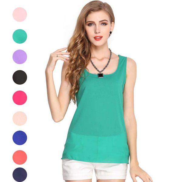 top popular Solid Color Tank Top Sleeveless Chiffion Tank Tops Base Shirt Sleeveless Shirts Tees Women Fashion Clothing Black White Drop Ship 220049 2021