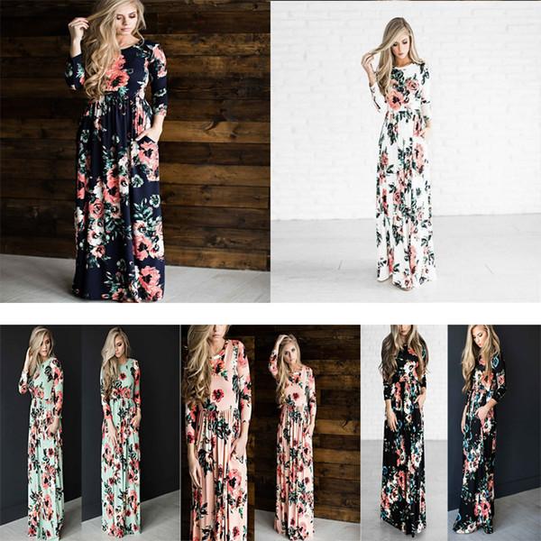 5 Colors maternity pregnant clothes floral printed women beach bohemian long beach dress vintage dresses long summer dresses women DHL FJ175