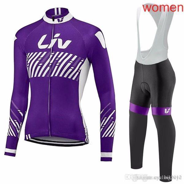 LIV team Cycling long Sleeves jersey(bib)pants sets women High Quality thin Fashion Bike Breathable Bicycle Sportswear gel pad C2029