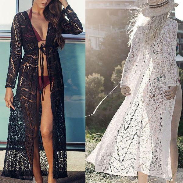 86345b14e5 Women Boho Beach Bikini Maxi Cover Up Lace 2019 Hot Beachwear Sexy Summer  Beach Dress Cover