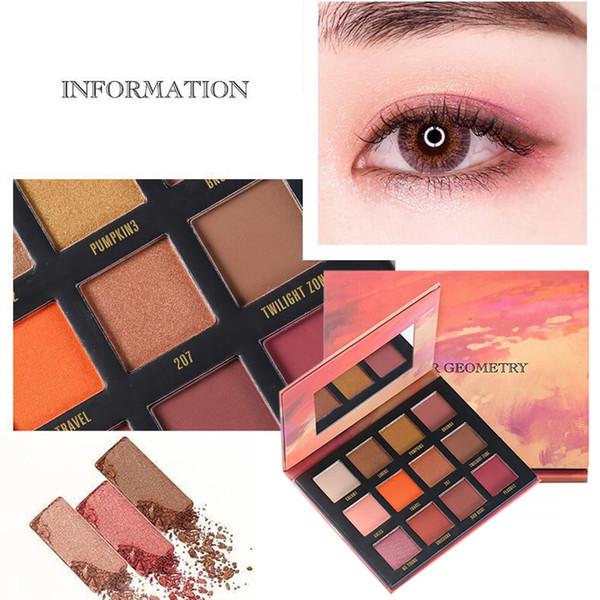 12 cores de moda paleta de eyeshdaow com espelho à prova de manchas à prova de manchas mate shimmer eye shadow