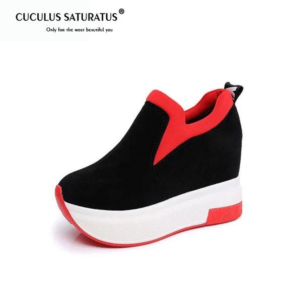 Chaussures habillées Chaussures Cuculus Spring Femme Compensées Plateformes Mocassins en daim Similicuir à bouts ronds à l'intérieur pour femmes
