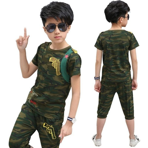 Camouflage Pistol Kid Clothes Cotton Short Sleeve T Shirt Calf-pants Summer Children Outfits Boys Clothes Girls Sets Clothing