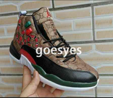 12 GS nesil yılan Siyah Kahverengi Kırmızı erkekler basketbol ayakkabı yeni stil 12 s mens yılan derisi ile Renkli spor tasarımcısı sneakers kutusu