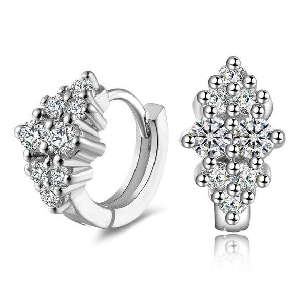 Bling Bling Happy Diamond Stud Earrings 925 plata esterlina plateado flor Stud pendiente joyería de la boda regalo