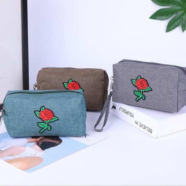 Best selling cosmetic bag Rose handbags Washing storage bag 300D matte material multi-function men and women cosmetic travel