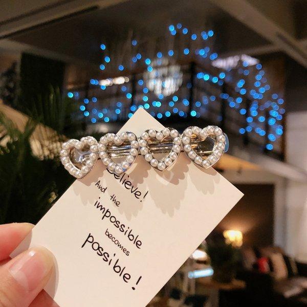 6370# Pearl Love Side Clip-silver