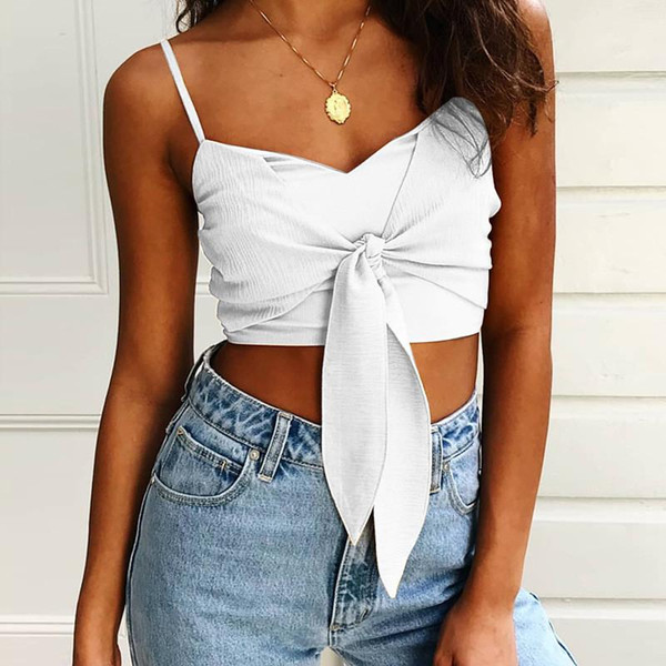 best selling Solid Color Front Bowknot Crop tops Shoulder Straps Midriff Baring outfits T Shirts Tops Summer Women Clothes 220230