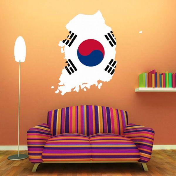 Mappa della bandiera coreana della Corea del sud Adesivo da parete in vinile Decorazione della casa personalizzata Adesivo da parete Decorazione di nozze Carta da parati in PVC Design di moda